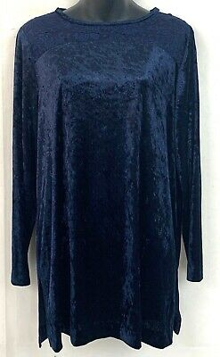 Coldwater Creek Womens Tunic Top Crushed Velvet Blue Shirt Blouse Size Small