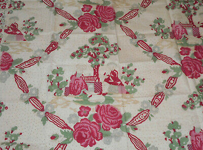 Antique French Figural Floral Roses Block Printed Cotton Fabric ~ Green Pink Red
