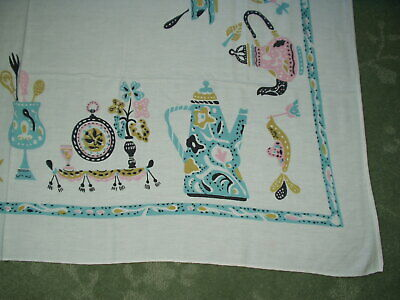 Vintage Mid Century Modern KITSCHY TABLECLOTH Turquoise BLUE PINK PYREX LOVERS