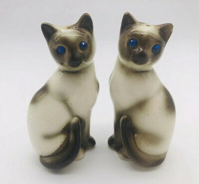 Vintage Siamese Cats Salt & Pepper Shakers Blue Gem Eyes Made In Japan