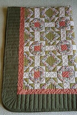 Vintage Patchwork Quilt Handmade Hand Quilted 1986 Single Bed Cover All Cotton