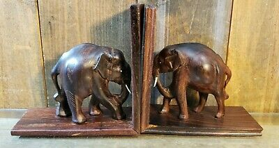 VINTAGE ELEPHANT BOOKENDS Hand Carved Dark Wooden Figurines 1 PAIR