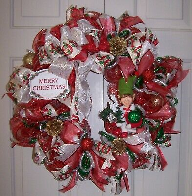 Christmas Elf Holiday Wreath Red Gold Deco Mesh Handmade