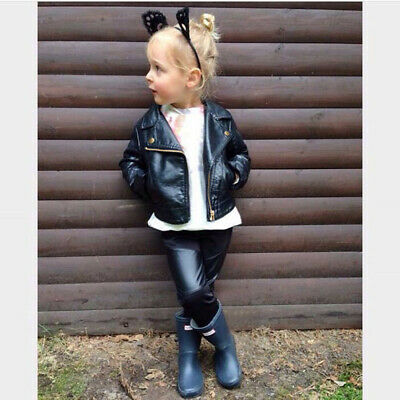 Autumn Winter Kids Baby Girls Boys Outerwear Leather Coat Short Jacket Clothes