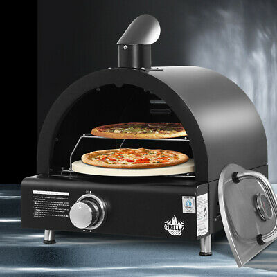 Grillz Portable Pizza Oven Outdoor BBQ Camping LPG Steel Gas Grill Cook Stove
