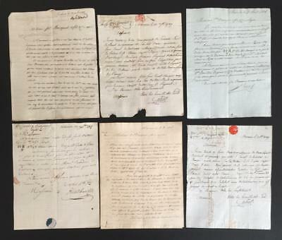 6 French Letters from the late 1700's to early 1800's