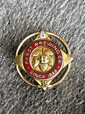 Vintage 1/10 10k Gold Filled 35 Year Loyal Service Pabst Breweries Pin