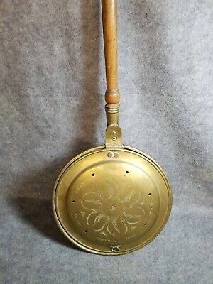 Antique Brass Bed Warmer with decorative handle and lid. 11 1/2 X 41 1/2