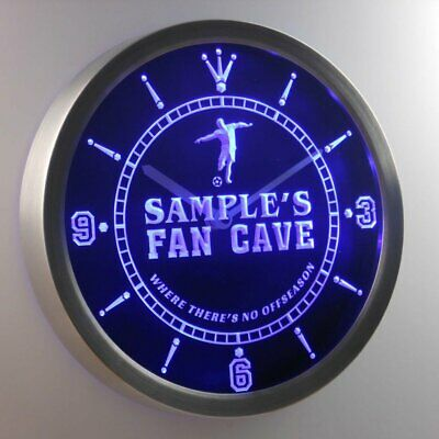 ncth-tm Name Personalized Custom Soccer Football Fan Cave Neon Sign LED Clock
