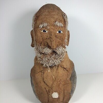 """11"""" Vintage Folk Art Old Man hand carved double Coconut with beard. He's cool!"""