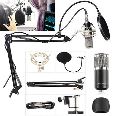 BM800 Condenser Microphone Kit Studio Dynamic System Mount Boom Stand Sound Card