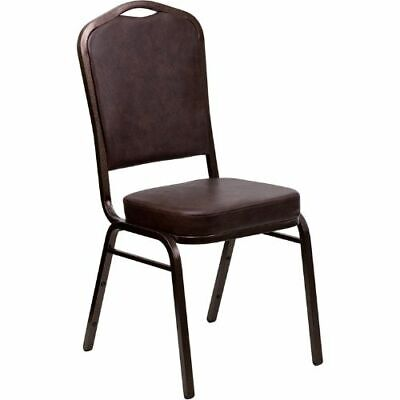 HERCULES Series Crown Back Stacking Banquet Chair with Brown Vinyl and 2.5''