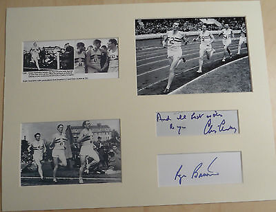 ROGER BANNISTER & CHRIS CHATAWAY Signed 15x12 Photo Display 4 MINUTE MILE COA