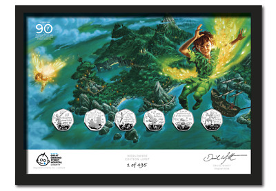 2019 Isle of Man Hand Signed Peter Pan BUNC50p Coin Set Framed Edition CO NR/296