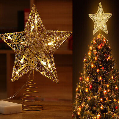 XMAS LED Tree Topper Star Light Christmas Decorations Top Star Lights Up Glitter