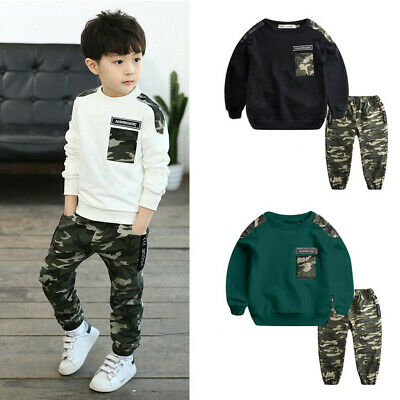 2PCS Teen Kids Baby Boys Letter Tracksuit Tops+Camouflage Pants Outfits Sets