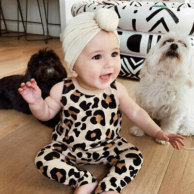 Toddler Baby Kids Girls Boys Leopard Printed Romper Sleeveless Jumpsuit Clothes