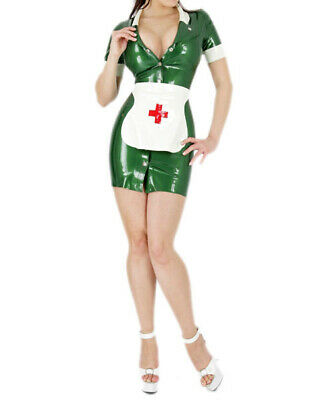 Latex Anzug Rubber Nurse dress Catsuit Gummi Ganzanzug Latexanzug Party S-XXL