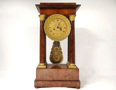 Pendulum Gantry in Columns Empire Mahogany Bronze Golden Griffins Clock 19th