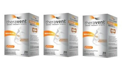 Theravent Snore Therapy Strips - SET OF (3) 20 ct REGULAR Vented (60 ct Total)