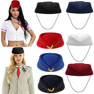 Wool Felt Stewardess Air Hostesses Pillbox Hat Millinery Teardrop Fascinator Cap