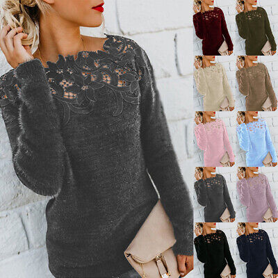 UK Womens Autumn Winter Warm Sweater Tops Ladies Lace Jumper Pullover Plus Size