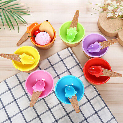 Children's Solid Food Ice Cream Bowls Containers Bowls Spoons Tableware Cute