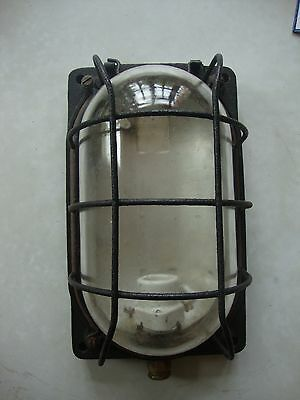 Antique great quality large cast iron bulk head lamp