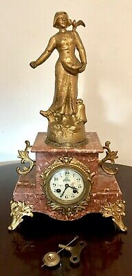 Antique French Gilted Metal/Ormolu And Marble Figural Mantel Clock C1900