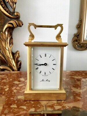 John Morley 8 Day Gold Plated Carriage Mantel Clock