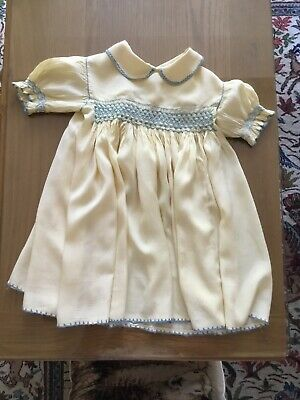 Antique Vintage Baby Girls Childs Dress Yellow Silk Smocked suit Large Doll #