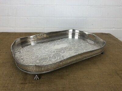 """Vintage Silver Plate Gallery Serving Tray Sheffield Made 18"""" Neoclassical Style"""