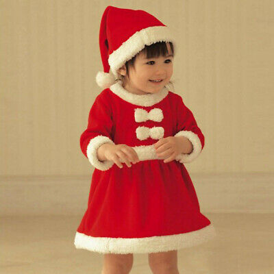 2PCS Toddler Kids Baby Girls Christmas Clothes Bowknot Party Dresses+Hat Outfit