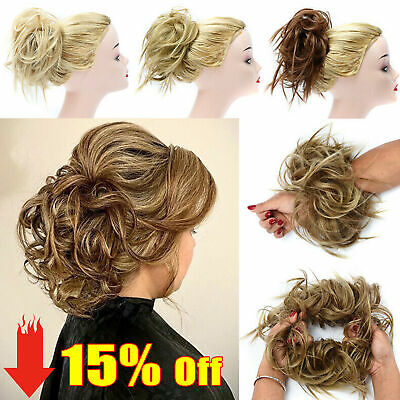 Large Scrunchie Messy Bun Hair Piece Tousled Updo Wrap on Ponytail Real THICK 87