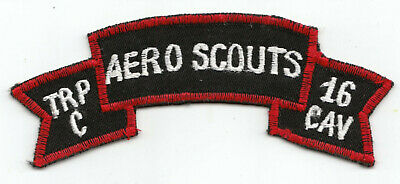Original Vietnam C Troop 16th Air Cavalry AERO SCOUTS scroll, pilot, helicopter