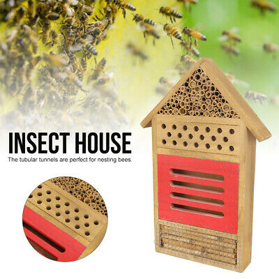 Large Insect Bee House Bug Wooden Hotel Natural Wood Shelter Garden Nest Box