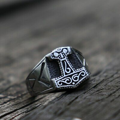 Ring For Men Viking Celt Pattern Knot Hammer Stainless Steel Jewelry Punk Rock