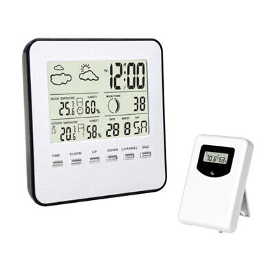 Weather Station Wireless Digital Alarm Clock, Barometer Temperature Humidity