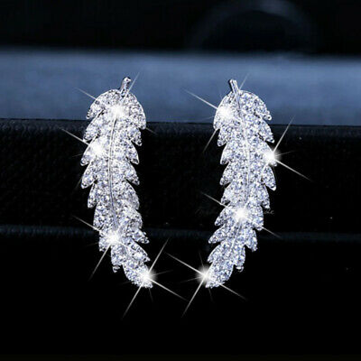 Fashion Women Silver Crystal Feather Fairy Wings Stud Earrings Charm Jewelry HF