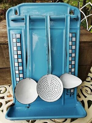 Vintage French Enamel Kitchen Rack Drip Tray Blue & White 3 Matching Utensils