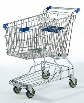 New Shopping Cart With Blue Handles Steel Medium Size Great For Stores