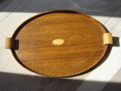 Pretty Antique Oval Wooden Tray, Inlaid Rope Work Marquetry Detail
