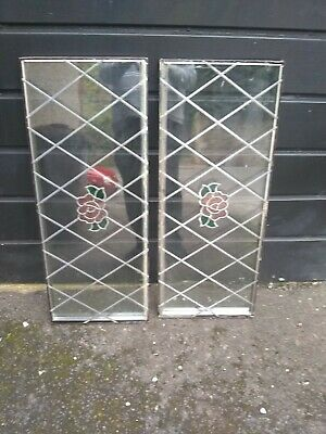 2 double glazed lead glass window panes red rose motif
