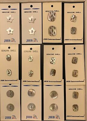 Vintage Decrative Carved Shell Buttons Unused On Cards -JHB International