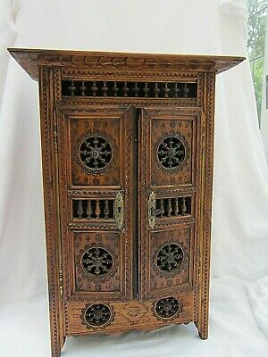 Miniature Antique French Brittany Armoire Storage Decorative Doll Wood Wardrobe