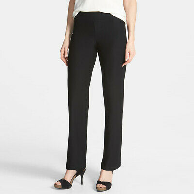 Eileen Fisher Straight Leg Crepe Pants Small Black Stretch Waist Pull On Trouser