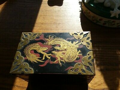 Vintage Antique Oriental Playing Card Box stamped made in Japan black red brass