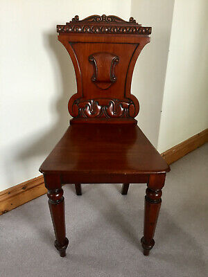 Beautiful Antique Victorian C1870 carved mahogany hall chair, vg condition