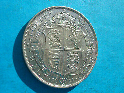 1911 George V silver half crown very high grade starting to tone