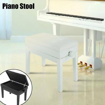 Height Adjustable PU Leather Piano Stool Bench Storage Single Padded Chair Seat